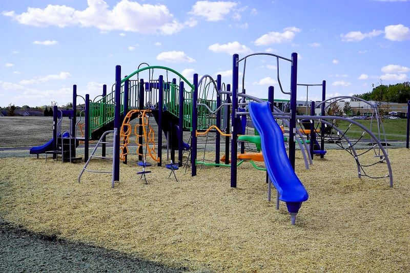 Playground Equipment with blue slide, climbing ladder, bars, and green railings
