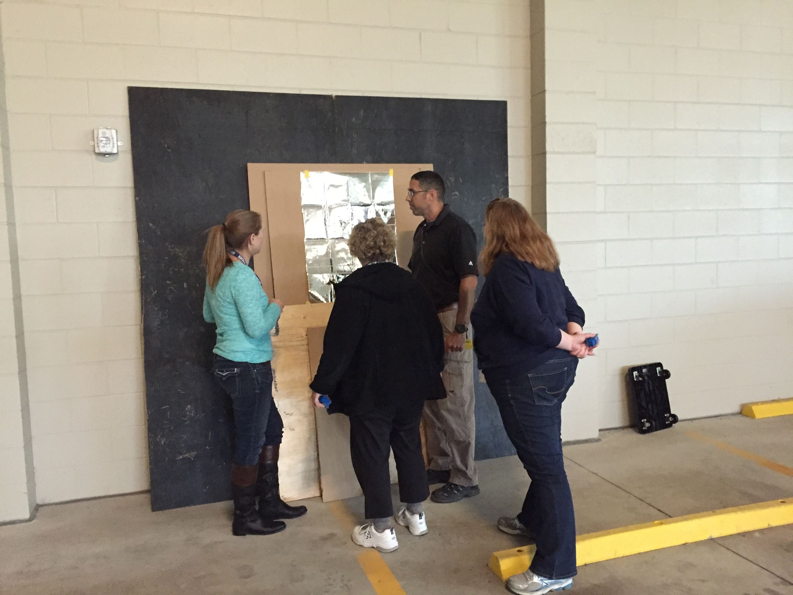 Group looks at shooting target